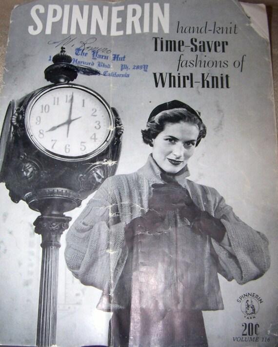 50s Spinnerin Hand Knit Time Saver Volume 116 Family Men Women Children Fashion