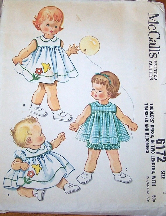 60s McCalls 6172 Toddlers Dress and Bloomers plus Vintage Transfer Pattern Size 2