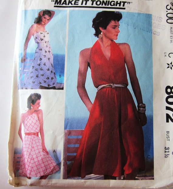 80s McCalls 8072 Halter or Strapless Dress with  Flared Skirt Knee Length Pockets Size 8 Bust 31