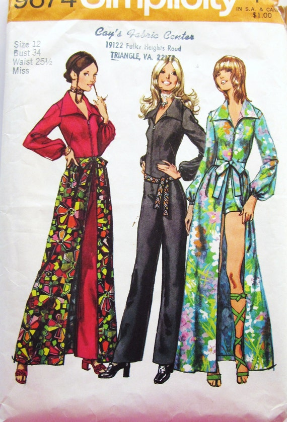 70s Simplicity 9674 Jumpsuit Shorts or Wide Legged Pants and Flared Skirt - Size 12 Bust 34