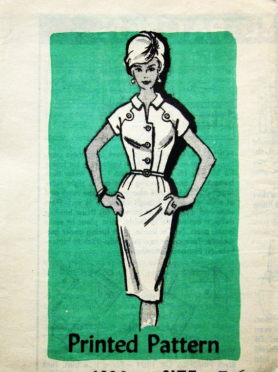 60s Mail Order 4928 Slim Wiggle Dress with Short Raglan Sleeves with Tabs - Size 16 Bust 36
