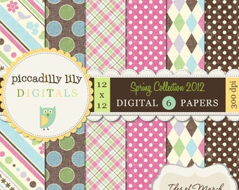 Instant Download - Ides of March -- 12x12 Digital Printable Scrapbook Spring Collection 2012 Paper Pack