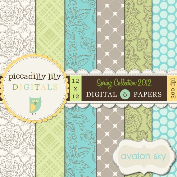 Instant Download - Avalon Sky -- 12x12 Digital Printable Scrapbook Spring Collection 2012 Paper Pack Blue Brown Green