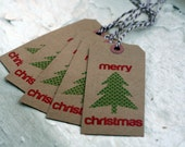 Set of 5 - Screenprinted Merry Christmas Gift Tags