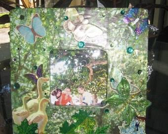 Nature Inspired Picture Frame Garden Ducks Butterflies Green
