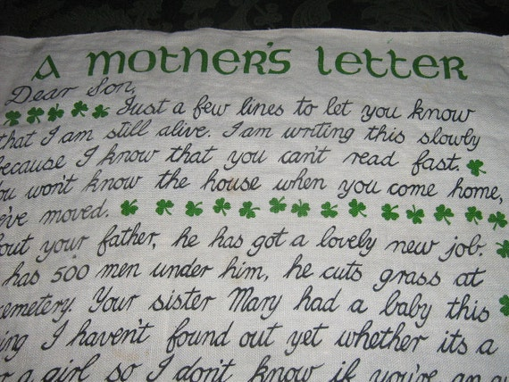 Vintage Dish Towel Irish Letter