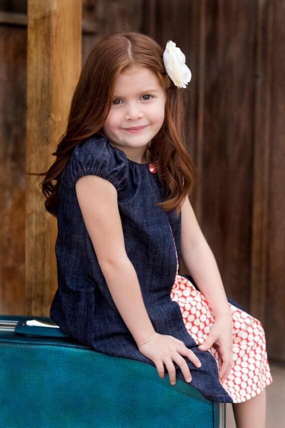 Denim Peasant Peekaboo Dress - Amy Butler - Sizes 6m, 12-18m, 2t, 3t, 4t, 5t
