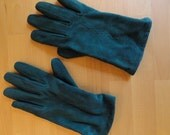 Teal Leather Winter Gloves