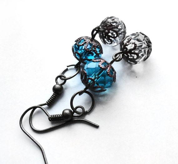 Antique Bronze Swarovski Crystal Hook Earrings (Get 12% OFF with COUPON CODE for Special Sale)