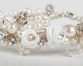 Bridal Bracelet Cuff - Rhinestones, Flowers, Pearls, Crystals  - Cream, White & Ivory