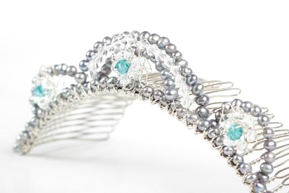 Bridesmaid Tiara Comb - Pearl & Crystal - Teal, Grey and Silver