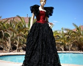 Womens Ball Gown Skirt and Ruffled Shrug Costume in Black