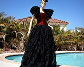 Twilight Masquerade Ball Gown Skirt and Ruffled Shrug in Black Crushed Organza