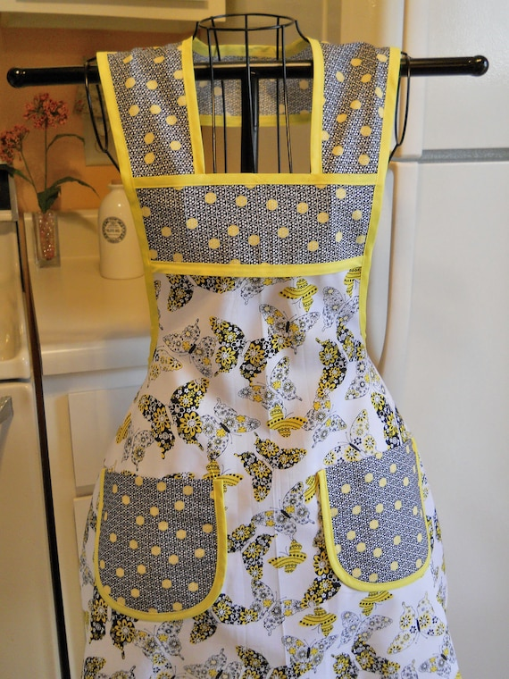 Black and Yellow Butterfly Vintage Style Full Apron