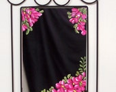 Decorative Wall Mirror with Hand Painted Verbenas