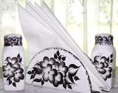 Hand Painted Salt and Pepper / Napkin Holder Set  in Black Floral Design
