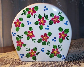 Napkin holder with hand painted red forals