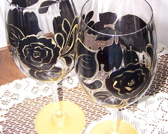 Black / Gold wine glass set