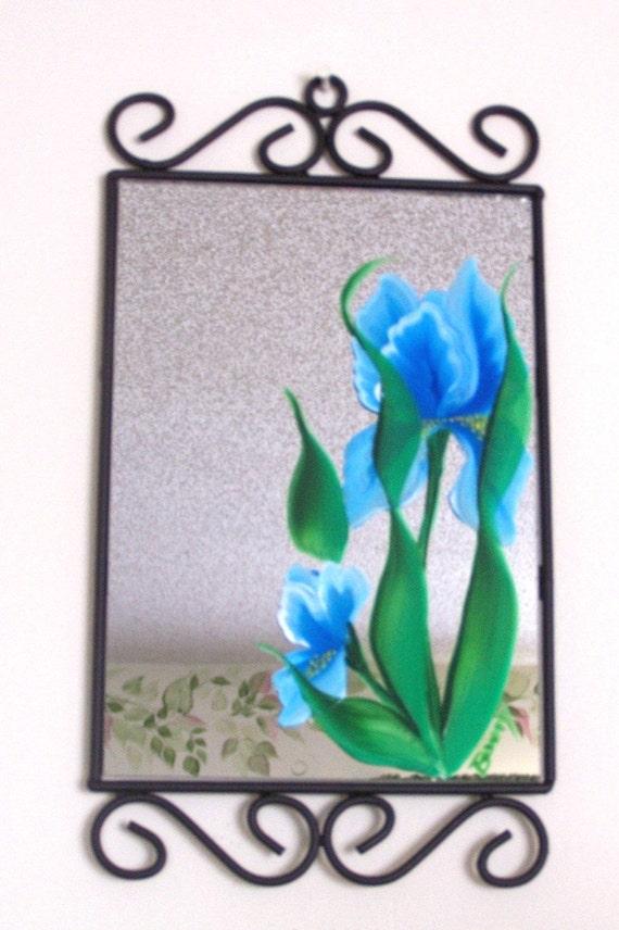 Decorative Wall Mirror HP with Blue Irises