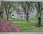 Houmas House  | TreASurY IteM | Signed Watercolor Print | 11 x 14 inches | antebellum plantation historical home columns southern south art