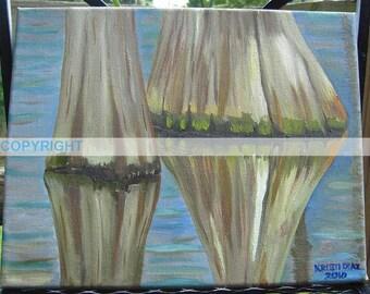 SALE | Two Cypress Trees | Original Oil Painting | Louisiana Artist Kristi Jones | lake water | impressionist