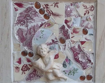 SALE | Angel in Pink | Mosaic Wall Hanging | pink transfer ware | mosaic tile art glass bubble | pink white french country cabinet