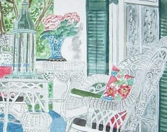Southern Porch | TREasUrY IteM | Print of Original Watercolor by Louisiana Artist Kristi Jones | porch wicker columns south Victorian art