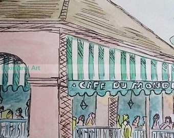 Cafe du Monde - Print of Watercolor and Ink Painting by Louisiana Artist Kristi Jones