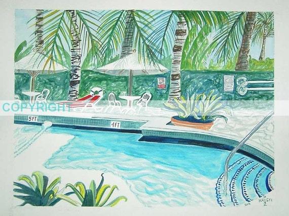 SALE | The Richmond Pool | TReaSUrY iTem | 11 X 14 Signed Print by Louisiana artist Kristi Jones | south beach miami florida | swimming pool