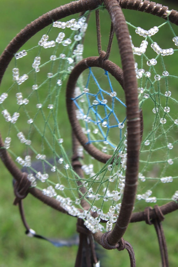 Beaded dreamcatcher ooak three ring dream catcher of the for How to make a double ring dreamcatcher