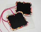 Chalk It Up Chalkboard Tags -- Set of 2 -- Rainbow Jimmies and Hot Pink Ribbon