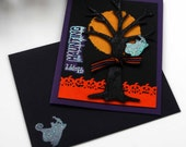 Happy Haunting Greeting Card -- Halloween Card -- Spooky Tree Ghost Spirit Full Moon