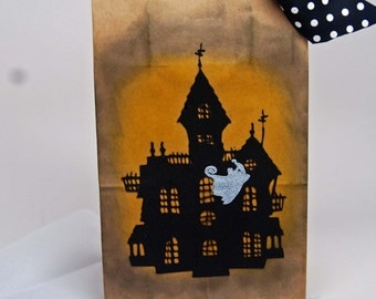 Haunted House Gift Bag -- Treat Bag -- Ghost Scary House Spooky Halloween Treat Bag