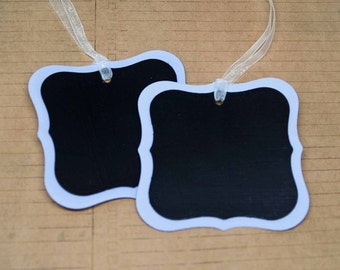 Chalk It Up Chalkboard Tags -- Set of 2 -- Lilac Mist with White Sheer Ribbon