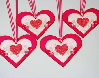 Raspberry Rose Heart Tags OOAK -- Set of 4 -- Glitter Heart Floral Design Pink White Stripe Ribbon