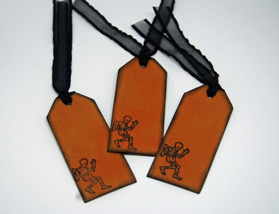 Halloween Gift Tags -- Treat Bag Tags -- Hand Stamped -- Dancing Skeleton