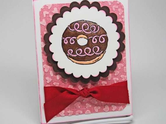 I Love You More Than Donuts -- Hand Stamped -- Greeting Card -- Chocolate Donut