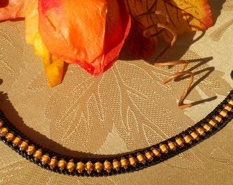 Halloween Treat - Herringbone Beaded Bracelet