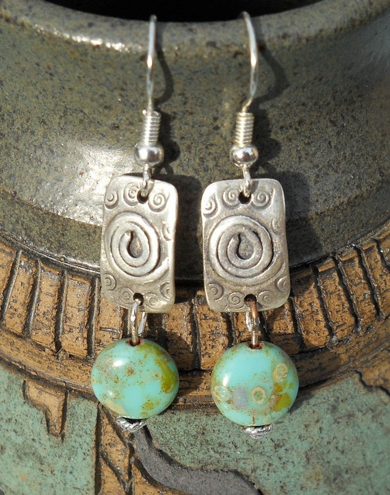Turquoise Spiral Drops - Earrings