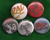 RAD Set of 5 Pins Buttons cru jones bmx 80s movie