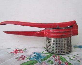 Vintage Primitive Red Handled Aluminum Potato Ricer Masher