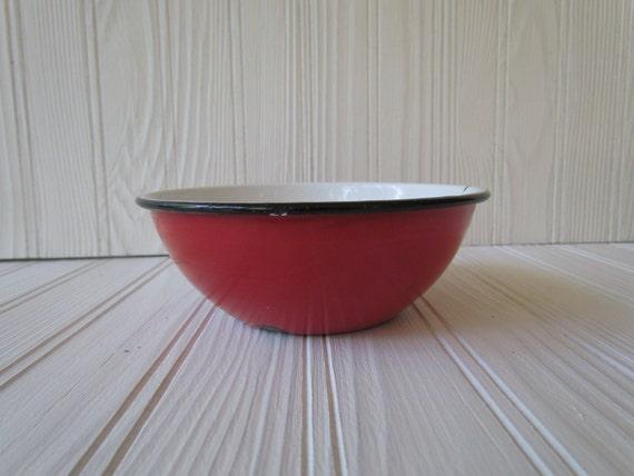Vintage Red Enamelware Bowl with Black Rim