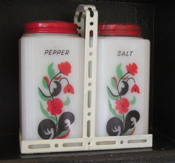 Vintage Tipp Milk Glass Salt and Pepper Shakers with Carrier