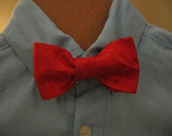 Boys Red Brocade clip on  Bow Tie