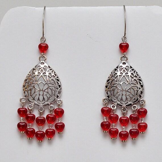 Red Siam - Heart - Antique Silver - Beaded - Dangle Earrings