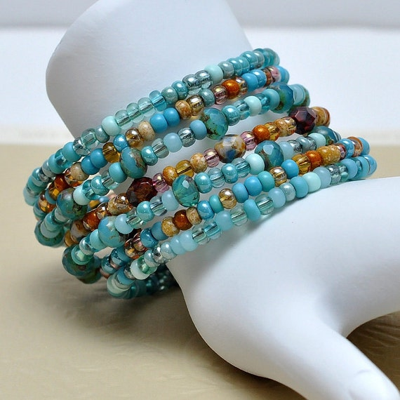 Turquoise Blue/Autumn Browns - Memory wire - Bangle - Multi Strand - Boho