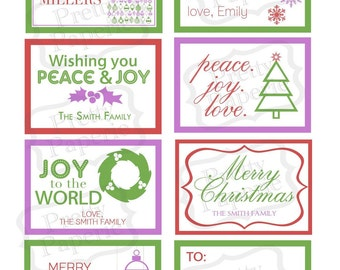INSTANT Download-CHRISTMAS 'Modern&Colorful' Gift Tag Collection- Printable PDF