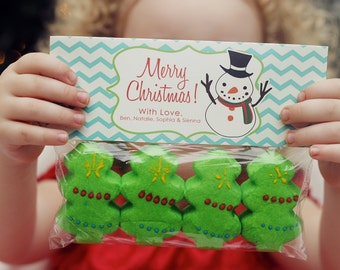 INSTANT Download-Christmas Treat Bag Tags: Snowman - Printable PDF