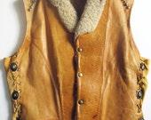 RESERVED FOR KAREN G - Vintage Leather Vest with Shearling Trim & Studding by coppeRivet