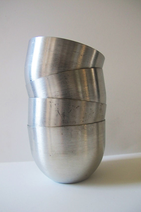 Vintage Pewter Leonard Jefferson Cups - Set of 4